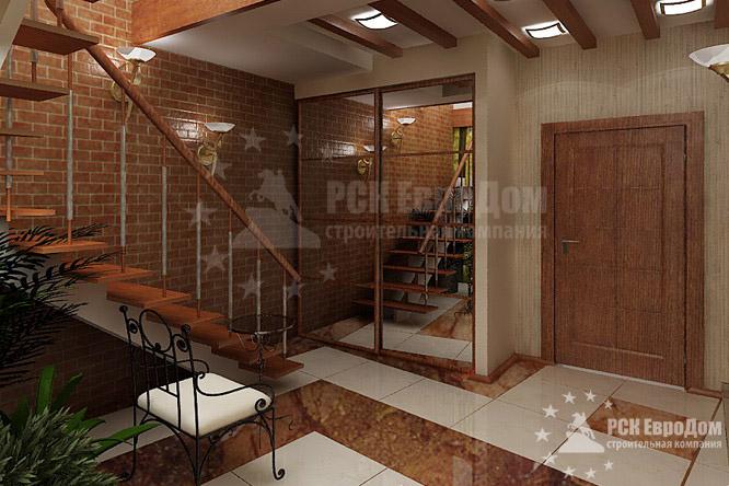 Интерьер 2 этажа кирпичного дома фото